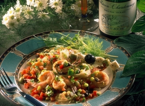 Greek Style Giant Shrimp over Capellini