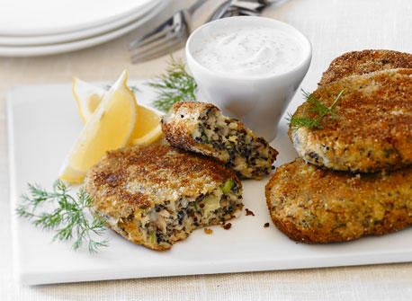 Quinoa Cakes with Lemon Yogurt Sauce recipe | Dairy Goodness