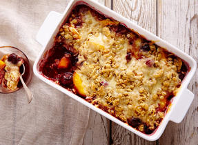 Peach, cherry & Havarti crumble