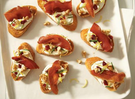 Creamy cranberry and prosciutto croutons Recipe