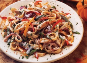 Fettuccine with Chicken and Mixed Peppers
