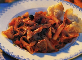 Pork Tenderloin and Pasta in Tomato and Red Pepper Sauce