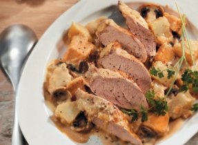 Roast Pork Tenderloin and Mushroom Dinner