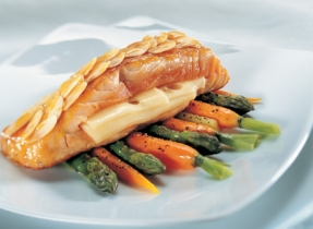 Maple Salmon Fillet with Melted Swiss and an Almond Crust