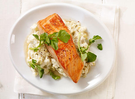 salmon fillet over cream cheese mashed potatoes recipe dairy goodness. Black Bedroom Furniture Sets. Home Design Ideas