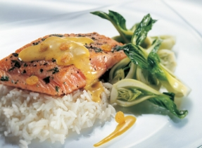 Roasted Trout Fillet with a Creamy Curry-Flavoured Brie and Raisin Sauce