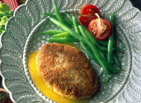 Chicken Parmesan Patties with Peach and Garlic Sauce Recipe