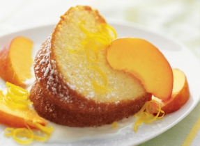Lemon Cake with Sliced Peaches