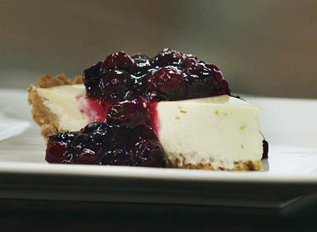 Quark & Yogurt Cheesecake with Blueberry Preserves Recipe