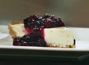 Quark & Yogurt Cheesecake with Blueberry Preserves