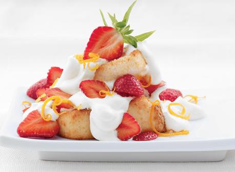 Orange Angel Food Cake With Strawberries Recipe — Dishmaps