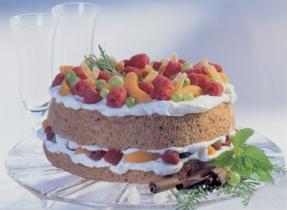Mocha Angel Cake with Mascarpone Filling
