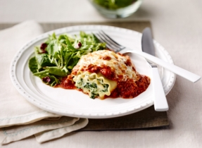 Veal and Spinach Lasagna Rolls au Gratin