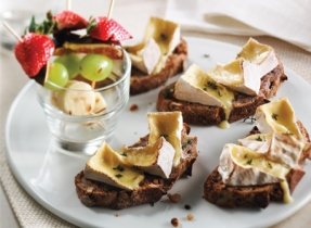 Nut Bread with Camembert au Gratin & Grilled Fruit Brochettes