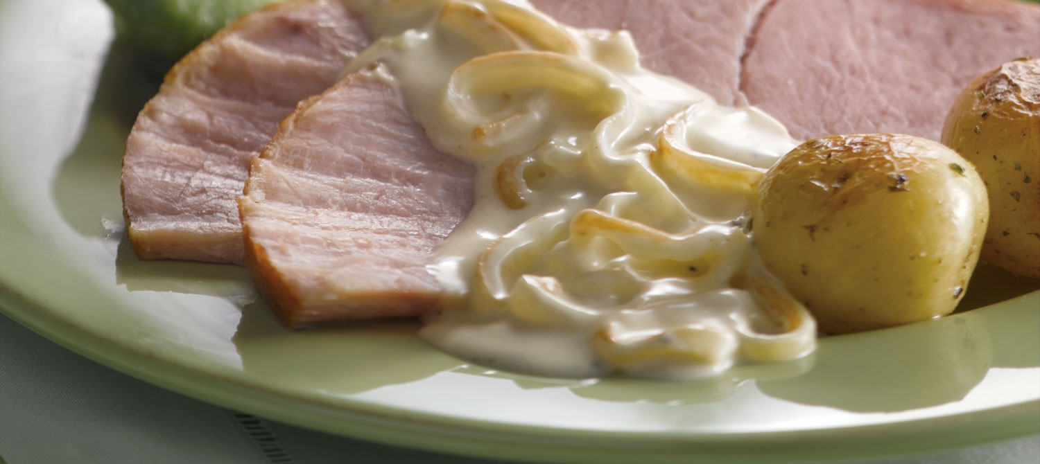 Baked Ham with Maple Caramelized Onions & Mustard Sauce ...