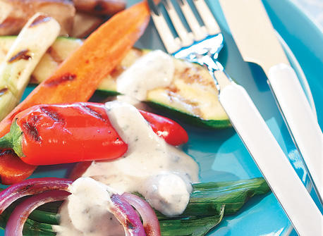 Grilled Vegetables with Herbed Dipping Sauce Recipe
