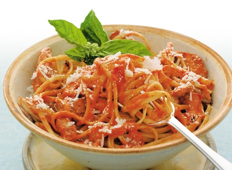 Linguine with Chicken and Roasted Red Pepper Sauce Recipe