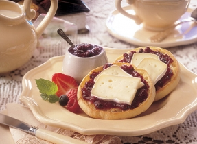 English Muffins with Brie and Mixed Berries