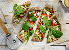 Roasted Pepper, Spinach and Feta Flatbreads
