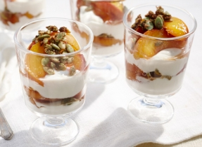 Spice Roasted Peach and Yogurt Parfaits