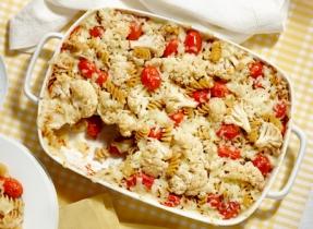 Roasted Tomato and Cauliflower Pasta Bake