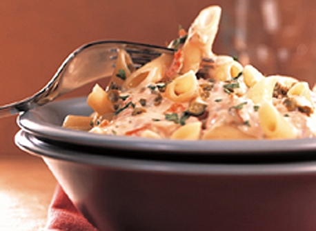 Penne with Smoked Salmon and Cream Cheese (Cooking Club Size) Recipe