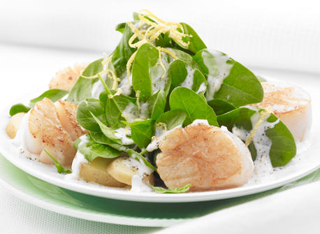 Seared Scallops with Baby Spinach and Potatoes Recipe