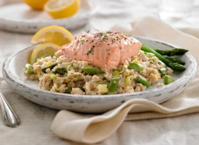 Scottish Oat & Leek Pilaf with Salmon