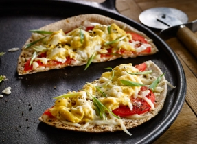 Egg, Tomato and Cheese Breakfast Pizzas