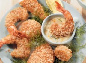 Crispy Fish & Seafood with Orange Dill Sauce