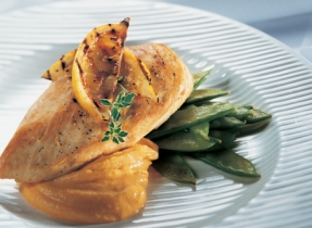 Breast of Chicken and Three-Cheese Sweet Potatoes