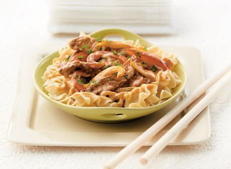Pork and Sweet Peppers on Noodles Recipe