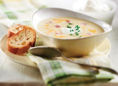 Potato, Cheddar & Ham Soup with Chive Yogurt Recipe