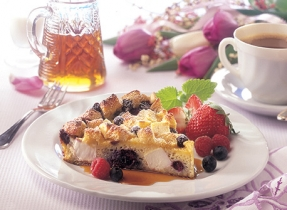 Brunch Bread Pudding with Mixed Berries