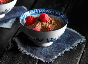 Chocolate Raspberry Quinoa Pudding
