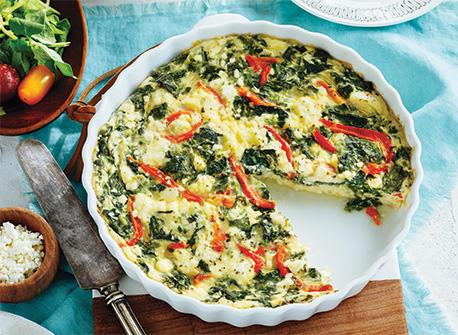 Spinach & Roasted Red Pepper Crustless Quiche Recipe