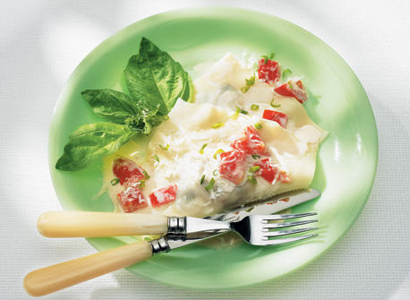 Mushroom Ravioli in Fresh Tomato Cream Sauce Recipe