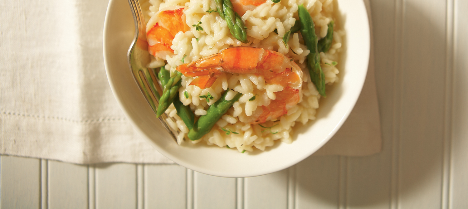Simple risotto with shrimp, asparagus and Aged Cheddar ...