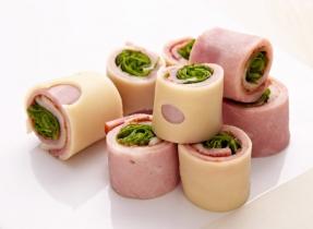 Ham and Swiss cheese rolls