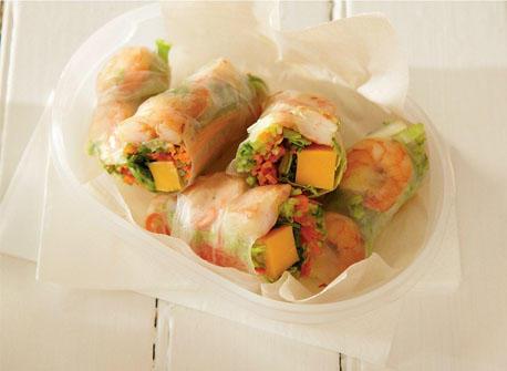 Thai-style shrimp and Cheddar spring rolls Recipe