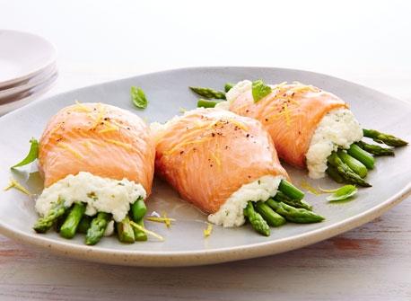 Ricotta & asparagus trout rolls Recipe