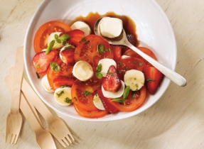 Bocconcini, tomato and strawberry salad