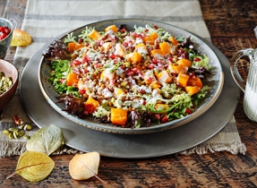 Roasted Winter Squash, Lentil and Greens Salad