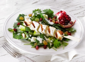 Halloumi Brochettes Salad with Tarator Sauce