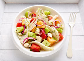 Fennel-melon and Feta salad