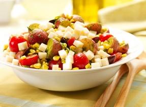 Fresh pesto potato salad with Brick