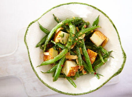 Warm Green Bean and Grilled Paneer Salad Recipe