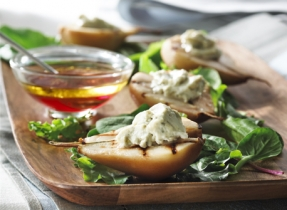 Warm Pear Salad with Bénédictin Blue Cheese and Port Dressing