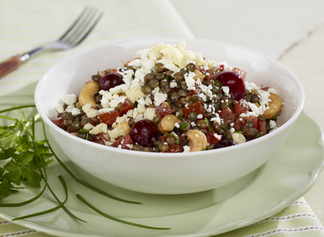 Warm Lentil & Tomato Salad with Cherries and Cashews Recipe