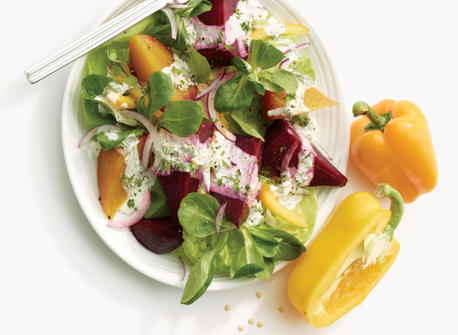 Roasted Beet Salad with Herbed Cream Recipe